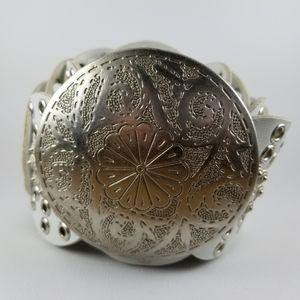 Silver disk buckle boho belt
